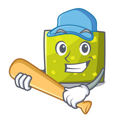 playing baseball square character cartoon style vector image