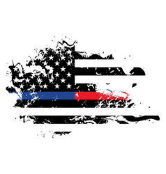 police and firefighter abstract american flag vector image