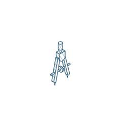Precision compass isometric icon 3d line art vector