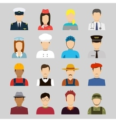 Professions Flat Icons Signs symbols set vector image