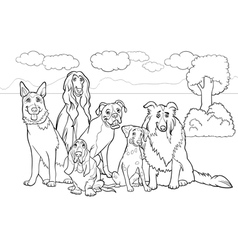 purebred dogs cartoon for coloring book vector image
