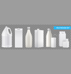 realistic milk package transparent icon set vector image