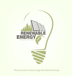 renewable energy of solar energy in bulb concept vector image