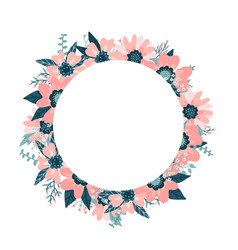 round frame wreath wild rose briar hand drawn vector image