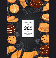 sale background with cartoon cookies on vector image