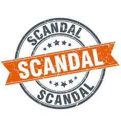 Scandal round grunge ribbon stamp vector