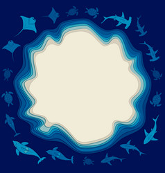 sea background with layers of water and animals vector image