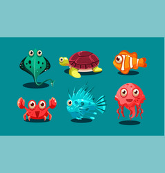 Sea creatures set cute funny animals and fishes vector