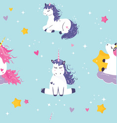 Seamless pattern with cute dreaming unicorns vector