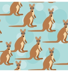 Seamless pattern with funny cute kangaroo animal vector image