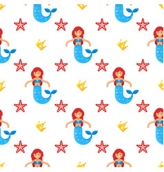 seamless pattern with happy mermaids vector image
