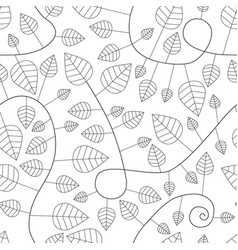 Seamless pattern with leaves and curves vector