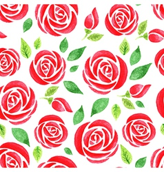 Seamless pattern with red watercolor rose vector