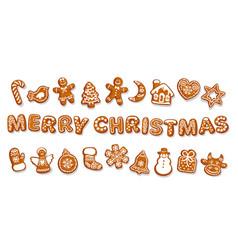 Set christmas gingerbread cookies merry vector