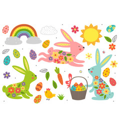 set isolated easter bunny and other elements vector image