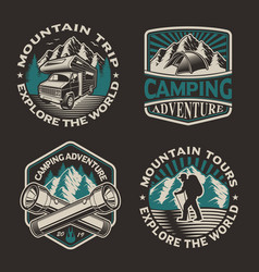 set logos for camping theme vector image