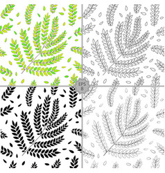 Set of 4 seamless floral pattern hand vector