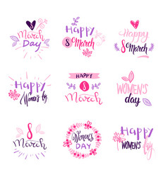 set of 8 march holiday stickers on white vector image