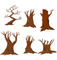 set of cartoon dry trees vector image