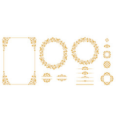 set of graphic elements for design in gold vector image