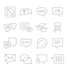 set of message line icons contains vector image