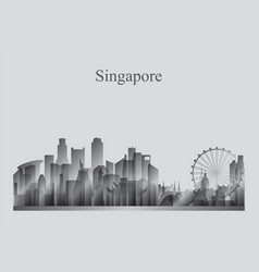 Singapore city skyline silhouette in grayscale vector