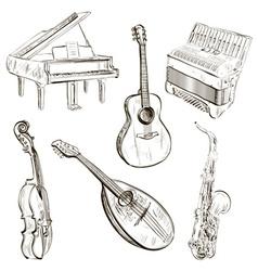 Sketch musical instruments vector