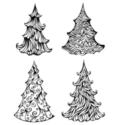 Spruces isolated on white background vector image