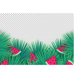 summer palm leaves with watermelon slices on vector image