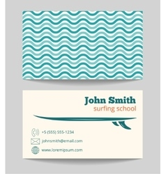Surfing school business card template vector image