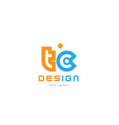 Tc t c orange blue alphabet letter logo vector