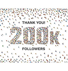 thank you followers peoples 200k online social vector image