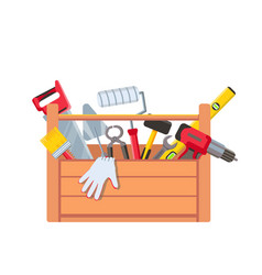 toolbox with equipment wooden toolkit box vector image