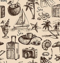 Travel and vacation vintage seamless pattern Hand vector image