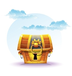 Treasure chest on a background of clouds vector