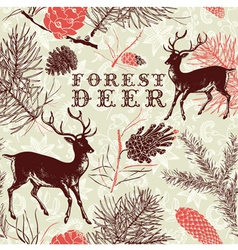 Vintage forest deer background vector