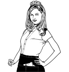Waitress standing with a hand in the hips vector