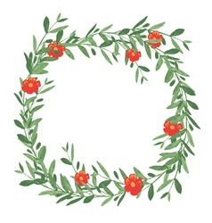 Watercolor olive wreath with red flower vector