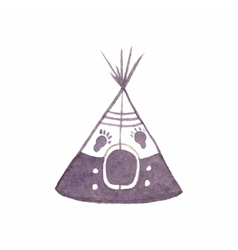 Watercolor teepee on the white background vector image