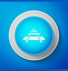 white railroad icon isolated on blue background vector image