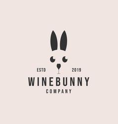 Wine bunny logo design vector