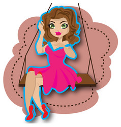 woman and swing vector image