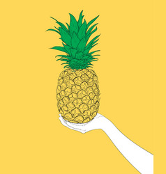 Woman hand holding a delicious yellow pineapple vector