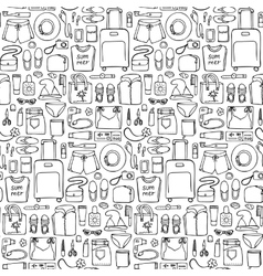 Woman Travel Doodle Seamless Pattern vector