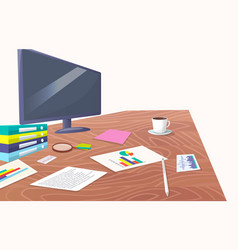 work place with big screen and paper documents vector image