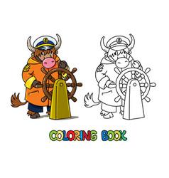 Yak yachtsman abc coloring book alphabet y vector