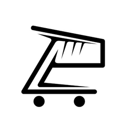 Black and white shopping cart vector image