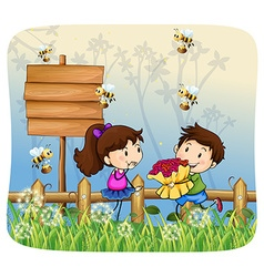 Boy giving flowers to girl vector