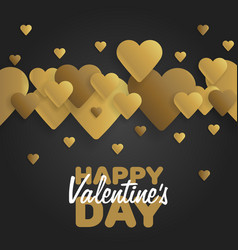 Golden greeting card happy valentines day vector