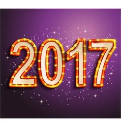 Happy 2017 new year shining retro light vector image